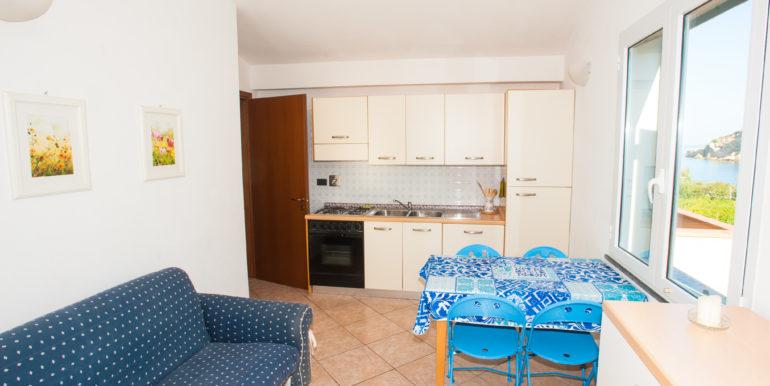 Cucina-soggiorno blu